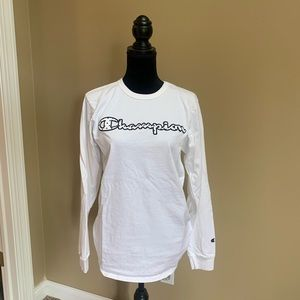 Men's Champion long sleeve white t-shirt sz M